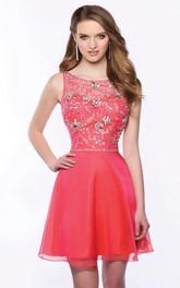 Bateau Neck Sleeveless A-Line Chiffon Homecoming Dress Featuring Crystal Detailing