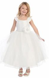 Cap-Sleeve Layered Tea-Length Flower Girl Dress