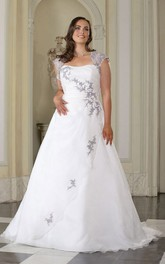 Queen-Anne Sweep-Train Floor-Length A-Line Appliqued Satin Gown