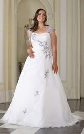 Queen-Anne Sweep-Train Floor-Length A-Line Appliqued Satin Gown