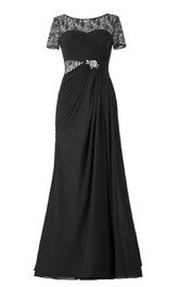 Illusion Inspire Chiffon Short-Sleeved Gown