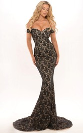 fishtail Lace Off-the-shoulder party Dress With Sweep Train And Low-V Back