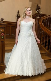 Sleeveless Criss-Cross Long A-Line Court-Train Jewel Dress