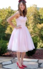 blushing Sweetheart A-line Tea-length Dress