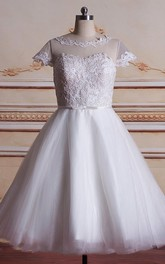 Tulle Satin 3-4-Length Short Wedding Lace Dress