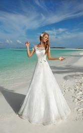 Short-Sleeve Bow Satin Ribbon Long A-Line Lace Dress