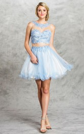 2-Piece Illusion Tulle Ruffled Appliqued A-Line Short Scoop-Neck Mini Sleeveless Dress