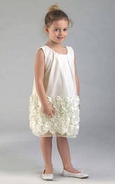 Tulle Floral Midi Satin Flower Girl Dress