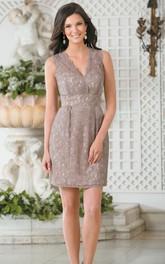 V-neck Sleeveless Lace Pencil Dress With Keyhole