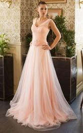 Sleeveless Pleated Brush A-Line Lace-Up Jewel Dress