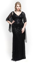 Column Chiffon Cape Floor-Length Strapped V-Neckline Beaded Dress