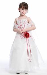Cape Strapped Spaghetti Ankle-Length Flower Girl Dress