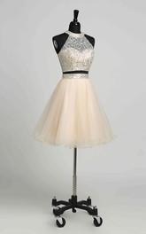A-Line Halter Tulle Sleeveless KeyholeRomantic Short MiniDress with Beading Sequins
