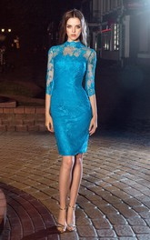 Pencil Split Back Appliqued Knee-Length High-Neck Lace Half-Sleeve Illusion Dress