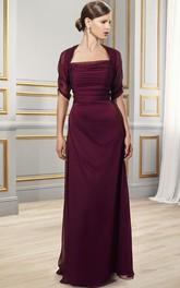 Bateau-Neckline Formal Short-Sleeve Ruched Chiffon Dress
