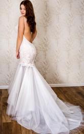 Tulle Wedding Lace Spaghetti-Strap Trumpet Dress