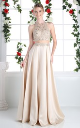 2-Piece Illusion Crystal A-Line Long Sleeveless Jewel-Neck Satin Dress