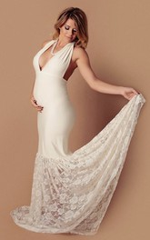 Mermaid V-neck Lace Pleated Sleeveless Court Train Jersey Lace Maternity Wedding Dress