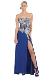 Sweetheart Jersey Split Front Prom Dress  With Beading And Illusion