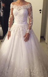 A-Line Lace Back Bow Belt Long-Sleeve Elegant Gown