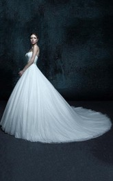 Chapel-Train Wedding Strapped A-Line Tulle Gown