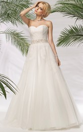 Sweetheart Criss cross A-line Ball Gown Dress With Beading And Corset Back