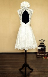 Short Bow Flower Sleeveless V-Neckline Bridal Dress