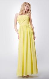Chiffon Spaghetti-Strap Inspire Sheath Sassy Floor-Length Gown