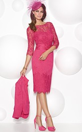 Pencil Bateau 3-4-sleeve Lace Mother of the Bride Dress