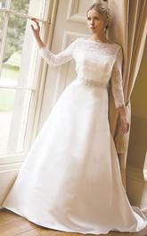 Bateau-neck Lace Long Sleeve A-line Wedding Dress With Jeweled Waist