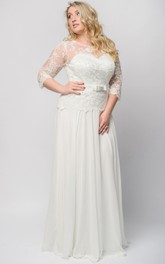 3 Illusion Long Empire Lace Dress