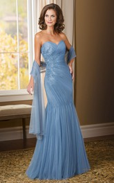 Sweetheart Criss cross Beaded Dress With Appliques And Side Draping