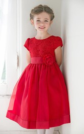 Jewel-Neck Short Sleeve Knee-length Flower Girl Dress With Lace