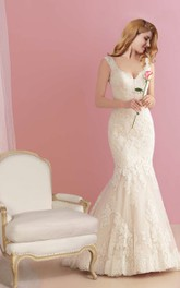 Deep-v-neck Sleeveless Trumpet Lace Appliqued Wedding Dress With Deep-V Back
