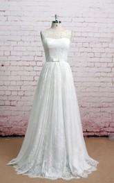 Lace Sleeveless Pleated Bateau-Neckline Exquisite Dress