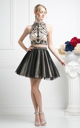 2-Piece Tulle Sleeveless Jeweled Multi-Color A-Line Mini Short High-Neck Dress
