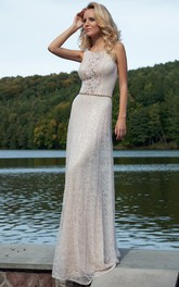 Lace Scoop-neck Sleeveless Sheath Dress With Beadings And Appliques