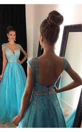 Jewels Floor-Length A-Line Tulle V-Neckline Elegant Prom Dress