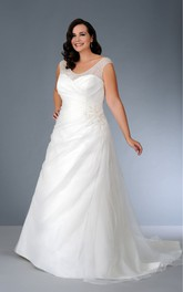 Scoop-neck Cap-sleeve A-line Tulle Satin Dress With Beading And Ruching