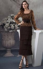 Ankle-Length Layers Appliques Bateau-Neckline Classic Dress