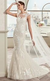 Bateau Cap-sleeve Sheath Mermaid Wedding Dress With Appliques And Tulle Overlay
