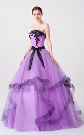 Long Tulle Straps Sleeveless Appliqued Bell Lace-Up Ball Gown
