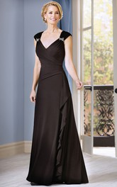 V-neck Cap-sleeve draped Mother of the Bride Dress With Low-V Back
