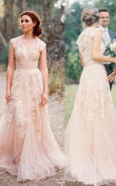 V-neck Lace Tulle Cap Short Sleeve Wedding Gown