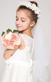 Double-layered Flower Girl Tulle Veil with Flower Headpiece