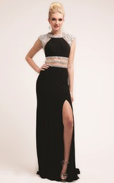 Column Split Front Beaded Long Jewel-Neck Jersey Cap-Sleeve Dress
