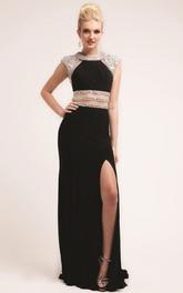 Column Split Front Beaded Long Jewel-Neck Jersey Cap-Sleeve Dress