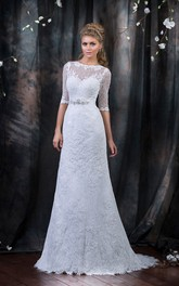 Short-Sleeve Beaded Sash Long A-Line Lace Dress