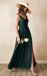 Sexy A Line Chiffon V-neck Ankle-length Bridesmaid Dress With Ruching