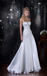 Sleeveless Beaded Ruched Floor-Length Sheath Satin Dress